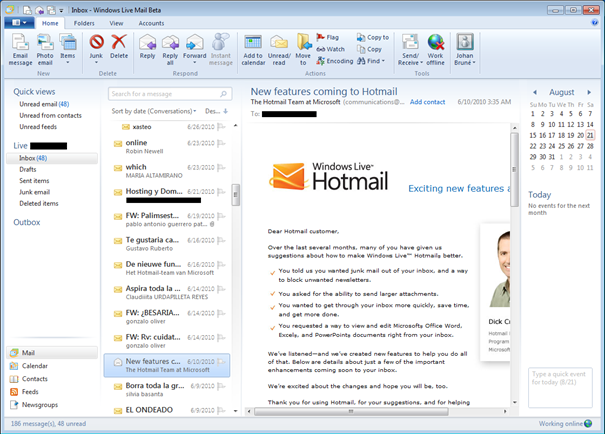 Mail Windows Live 2011
